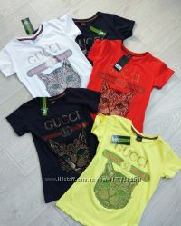 Хит 2018, модная футболка с кошкой, пчелой Gucci со стразами S, M, L, XL
