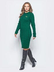 Вязаное платье в узор колосок с длинным рукавом
