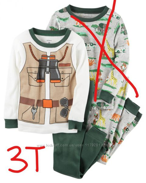 Коттоновые пижамки carters для мальчиков 3т