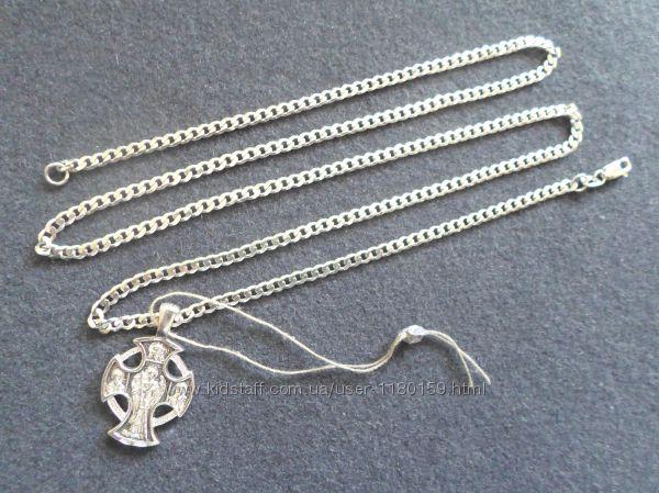 Новая серебряная цепочка 14, 5 гр. с крестиком, серебро 925.