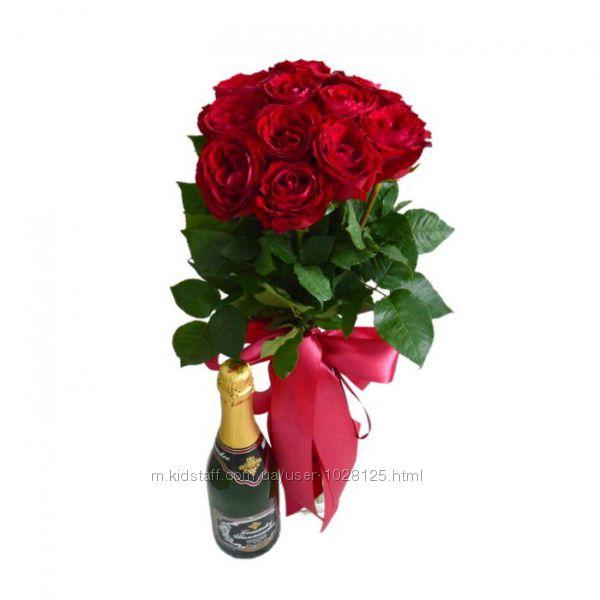 11 роз и шампанское по супер цене.