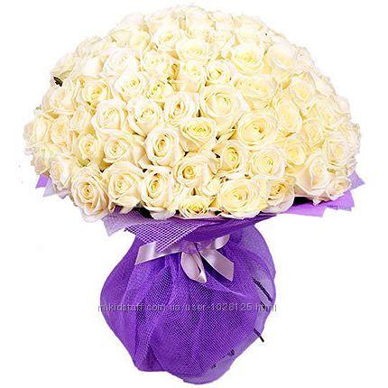101 белая роза супер цена