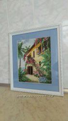 Картина вышита крестиком Итальянский домик у моря