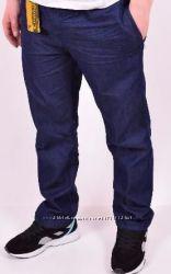 Джинсы - брюки унисекс супербатал 62-70рр, талия до150 тонкие -синие, лето.
