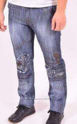 Пролет мужские модные джинсы голубо-синие весна-осень талия 89-90