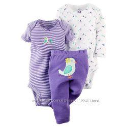 Carters комплекты тройки бодики человечки штанишки для девочек