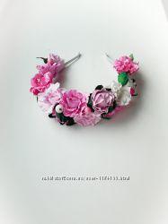 Детский веночек на голову с розовыми цветочками