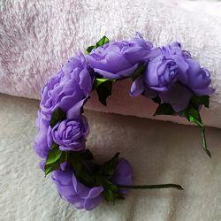 Обруч, веночек из цветов, фиолетовый ободок