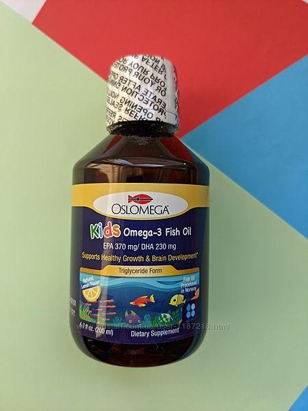 Рыбий жир омега-3 omega для детей Oslomega, Норвегия, лимонный вкус, 200 мл