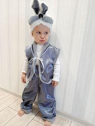 Карнавальный новогодний костюм Зайчик белый и серый