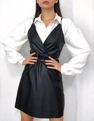 Женский черный сарафан из матовой кожи