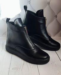 Очень удобные ботиночки из натуральной кожи и замши  демисезонные зимние
