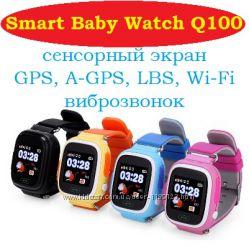 Оригинальные детские часы-телефон Q100 Smart Baby Watch, GPS, Wi-Fi, сенсор
