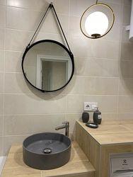 Круглое зеркало на кожаном ремне 60см в ванную, гостиную, спальню.