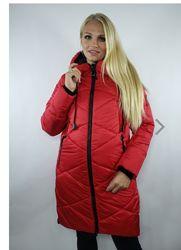 Плащ пальто куртка стеганая зима еврозима с капюшоном размер с 50 по 58