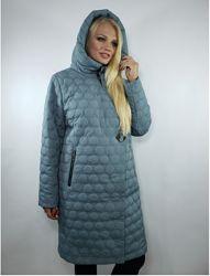 Женский стеганий зимний плащ пальто с капюшоном большой размер 50-60