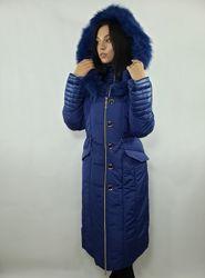 Пальто женское с капюшоном зима опушка натуральний песец еврозима 44-52