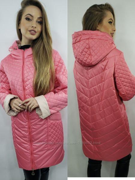 Куртка женская демисзонная удлинённая с капюшоном