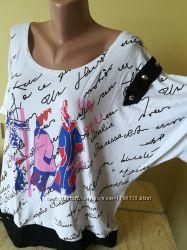 Женская футболка вискоза большие размеры два цвета Турция