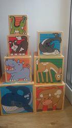 Деревянные кубики с животными от Melissa&Dought