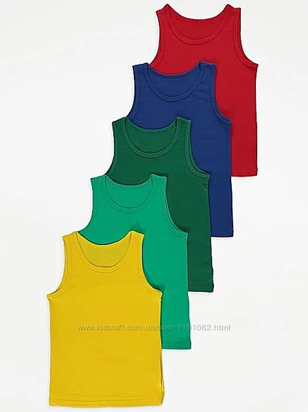 Майка разноцветная набор для мальчика от 2 до 5 лет из 5 штук джордж 200301