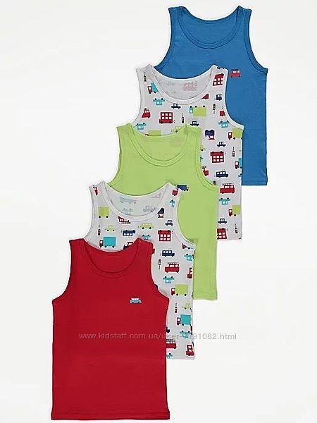 Майка разноцветная набор для мальчика от 2 до 7 лет 5 штук джордж 200708