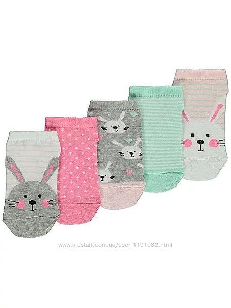 Носки детские для девочки george, набор 5 пар 200803