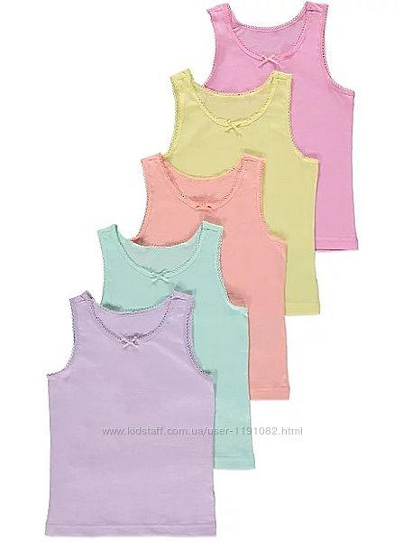 Майка разноцветная набор пастель для девочек 5 штук джордж 200901