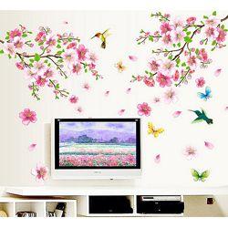 Съёмная виниловая интерьерная наклейка на стену Колибри в Цветах