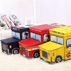 Большой детский Пуф с коробом ящиком для игрушек Машины моющийся