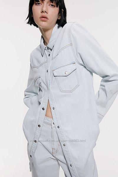 Джинсовая рубашка от ZARA, XS, оригинал, Испания