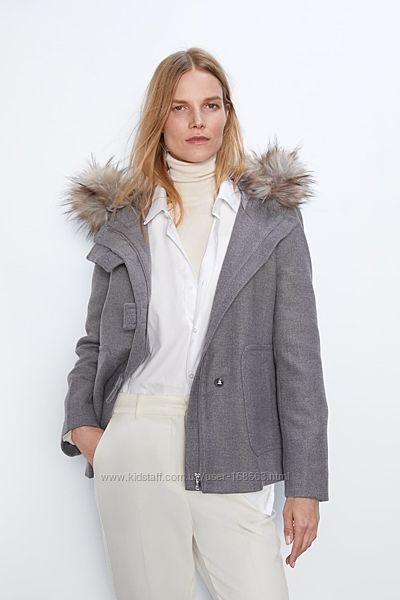 Шикарное пальто с мехом от ZARA, М, оригинал, Испания