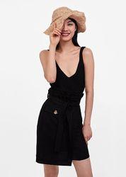 Льняная юбка на запах Zara paperbag высокая посадка с поясом карман