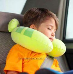 Детская надувная подушка рогалик подголовник лягушка жабка Intex 68678
