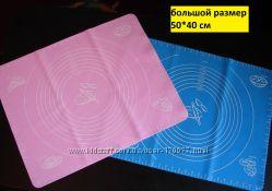 Большой силиконовый коврик для раскатки теста и выпечки с разметкой.