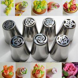Большие насадки кондитерские набор тюльпан роза трёхцветный переходник крем