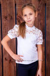 Школьная блузка с кружевной кокеткой, размер 122-140.