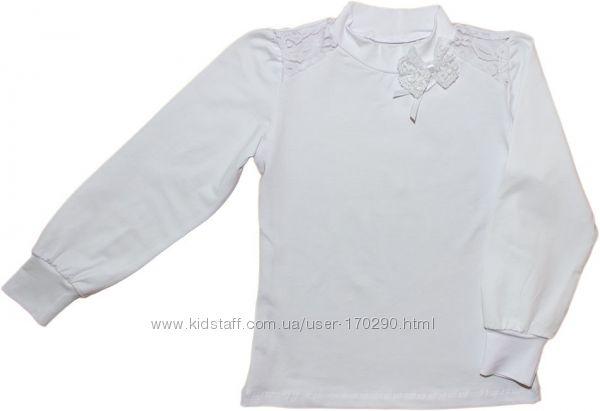 Школьная блузка с длинным рукавом, размер 122-146.