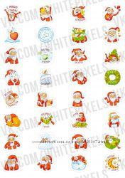 Стикеры Наклейки - Набор Дед мороз  32 Стикера