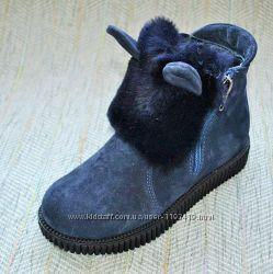 Зимние ботинки с ушками, замша Украина р 31-36