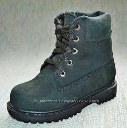Черные зимние ботиночки из нубука Украина размер 26