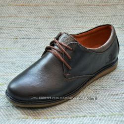 Подростковые кожаные туфли размер 37 38
