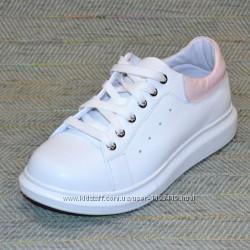 Женские белые кроссовки, кожа р 34-39