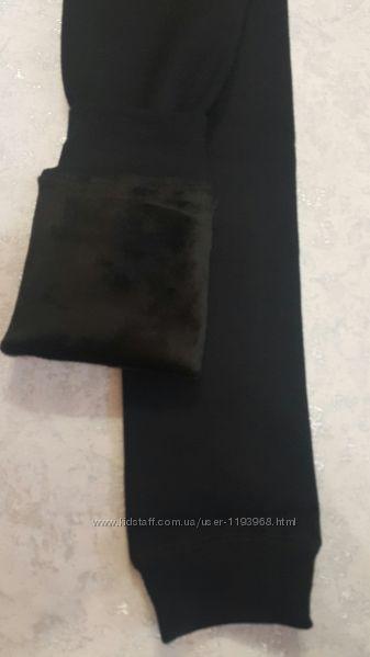 Черные лосины на плюшевом меху детские для девочек Школьные