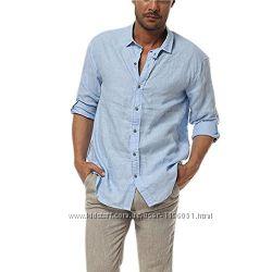 Рубашка модная мужская натуральный лен. Льняная рубашка стильная
