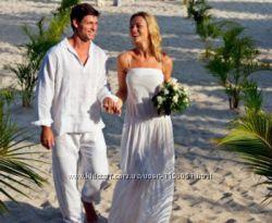 Белоснежный свадебный комплект одежды из льна пляжная церемония