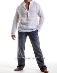 Льняные летние рубахи и брюки большой размер батал
