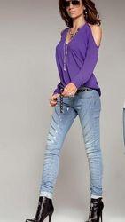 джинсы летние брендовые Италия в пайетки Denny Rose