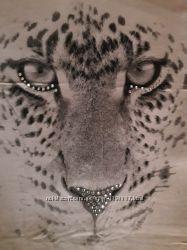 футболка туника вискоза нюдовая принт леопард стразы Италия Saint Tropez