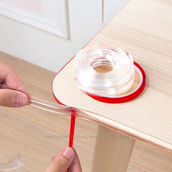Защитная прозрачная силиконовая лента на углы мебели, бампер для стола